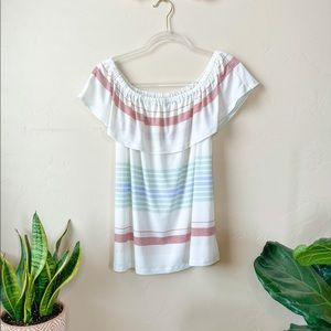 Maurices Striped Off The Shoulder Stripped Blouse